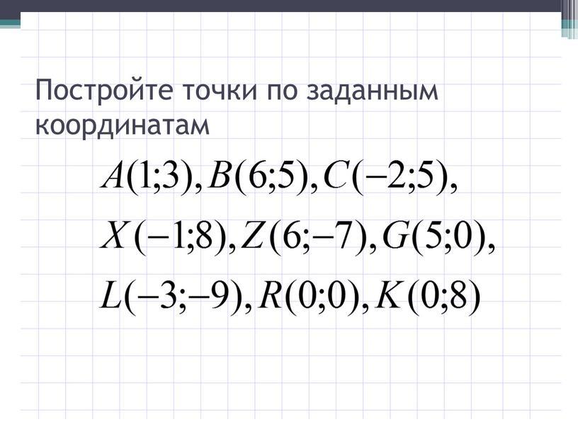 Постройте точки по заданным координатам