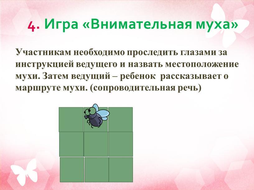 Игра «Внимательная муха» Участникам необходимо проследить глазами за инструкцией ведущего и назвать местоположение мухи