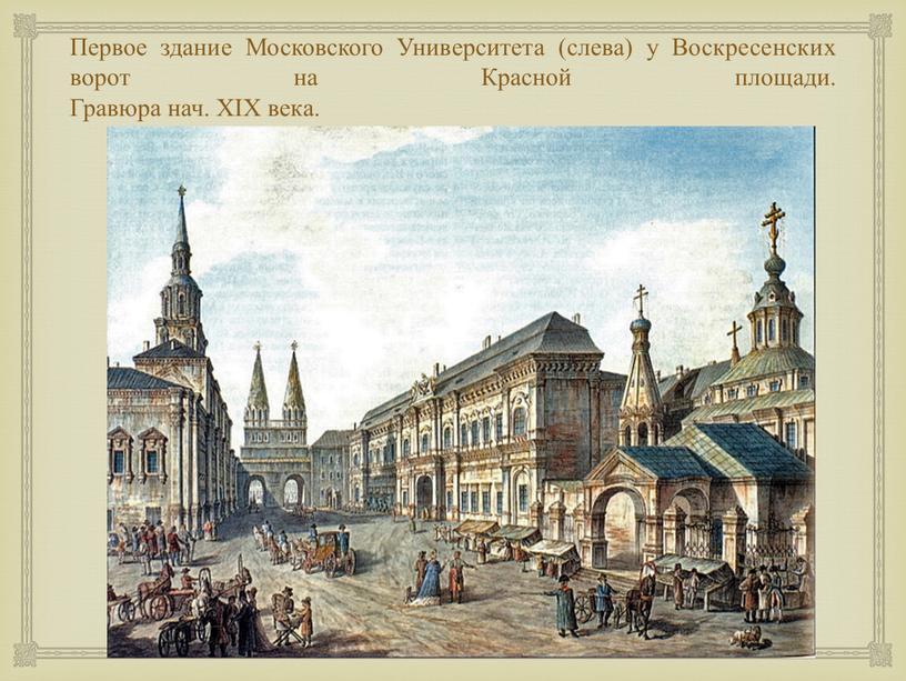 Первое здание Московского Университета (слева) у
