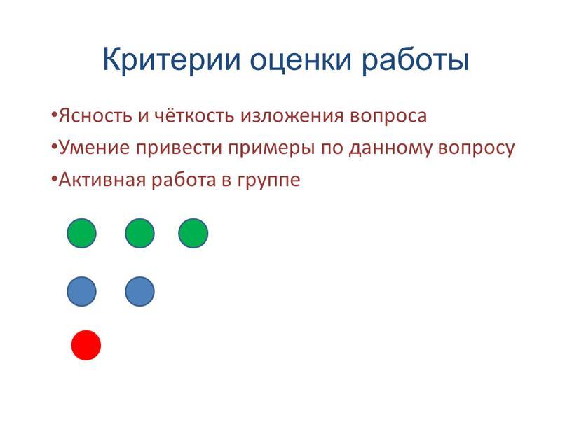 Критерии оценки работы Ясность и чёткость изложения вопроса