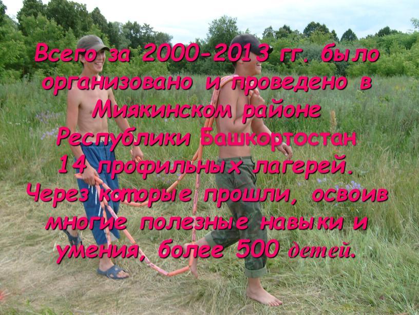 Всего за 2000-2013 гг. было организовано и проведено в