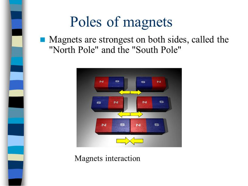 """Poles of magnets Magnets are strongest on both sides, called the """"North"""