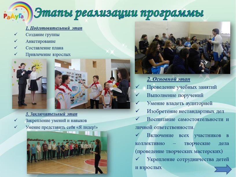 Этапы реализации программы 1. Подготовительный этап