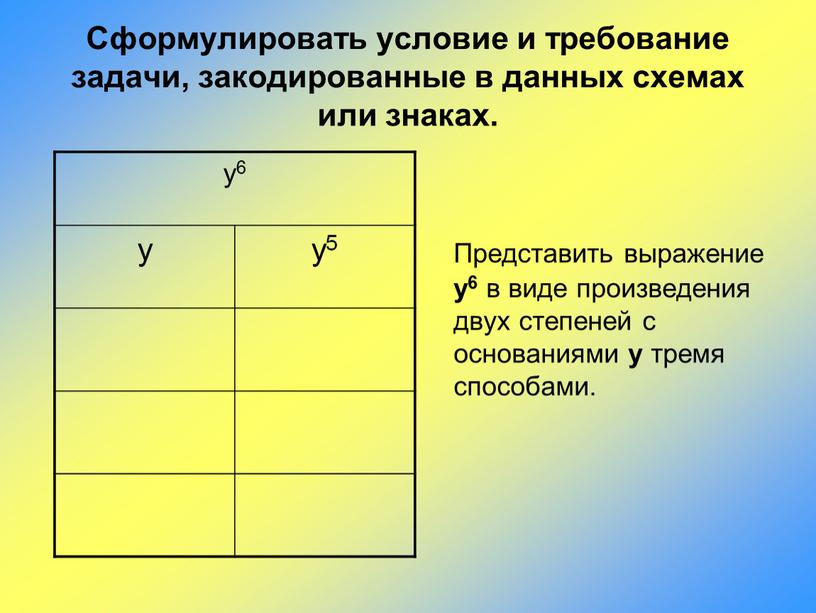Сформулировать условие и требование задачи, закодированные в данных схемах или знаках