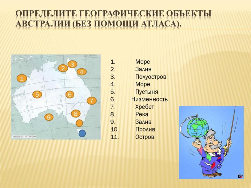 Определите географические объекты