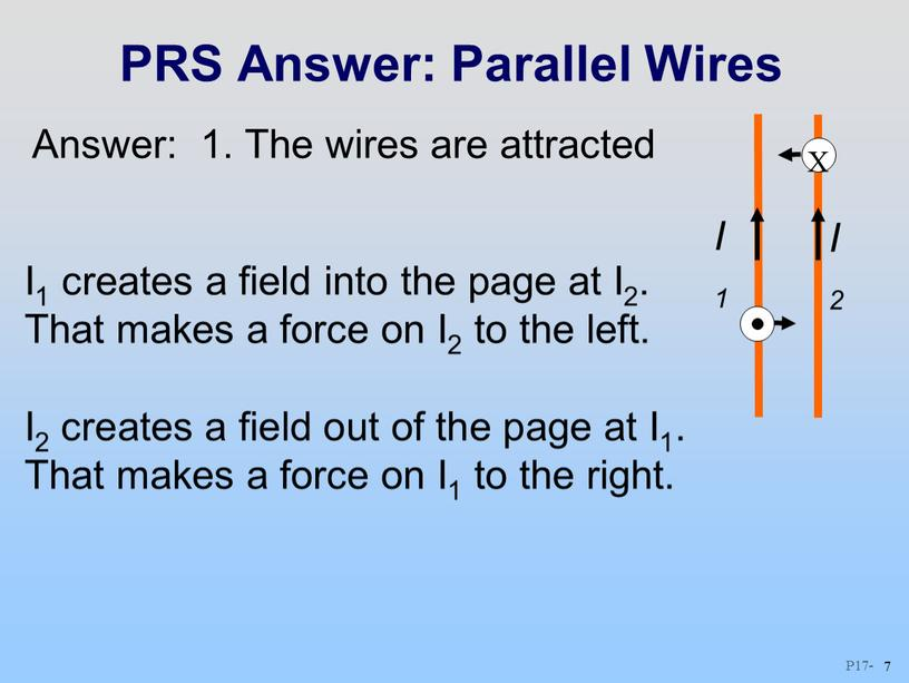 PRS Answer: Parallel Wires I1 creates a field into the page at