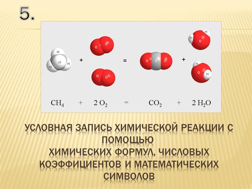 Условная запись химической реакции с помощью химических формул, числовых коэффициентов и математических символов