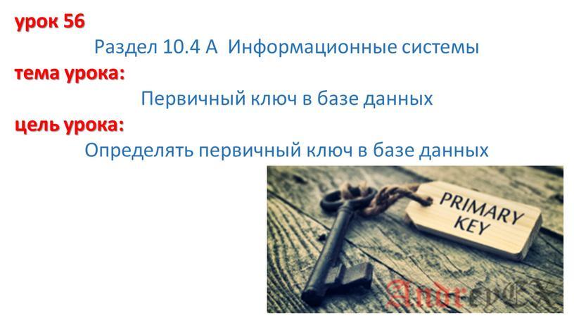 Раздел 10.4 А Информационные системы тема урока: