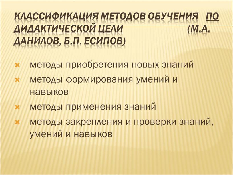 Классификация методов обучения по дидактической цели (М