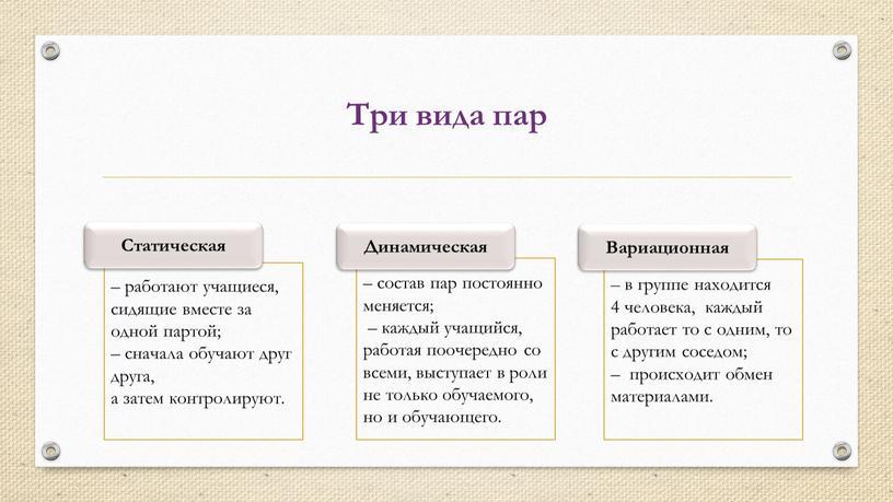 Три вида пар Статическая – состав пар постоянно меняется; – каждый учащийся, работая поочередно со всеми, выступает в роли не только обучаемого, но и обучающего