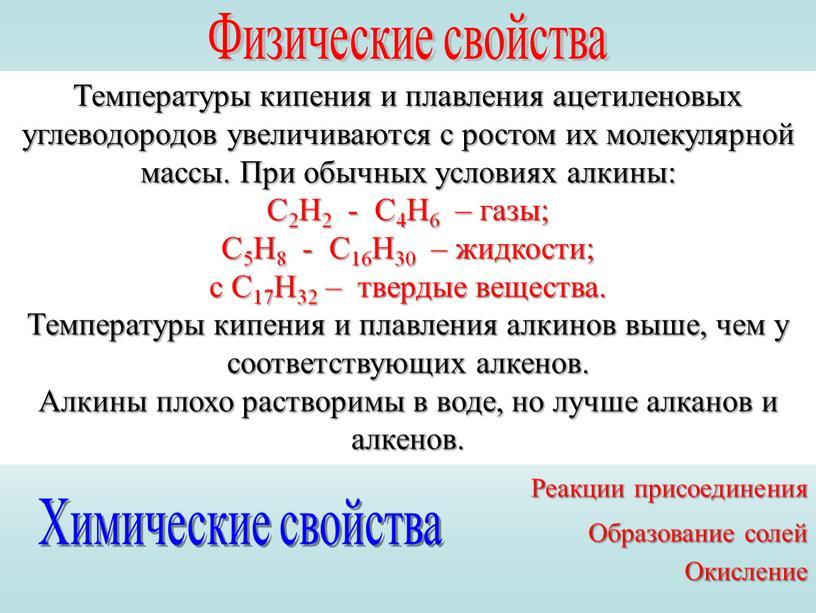 Физические свойства Температуры кипения и плавления ацетиленовых углеводородов увеличиваются с ростом их молекулярной массы