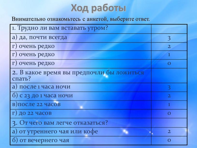 Ход работы Внимательно ознакомьтесь с анкетой, выберите ответ