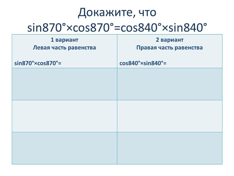 Докажите, что sin870°×cos870°=cos840°×sin840° 1 вариант