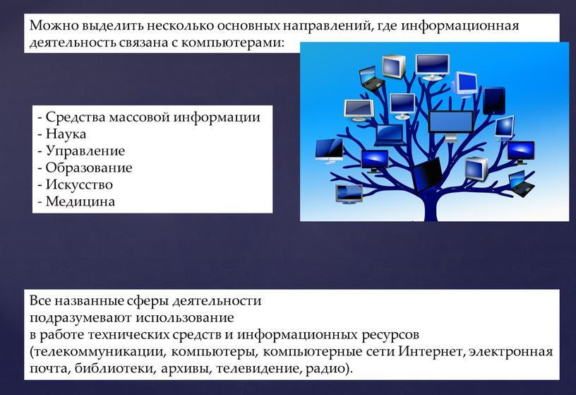 Можно выделить несколько основных направлений, где информационная деятельность связана с компьютерами: -