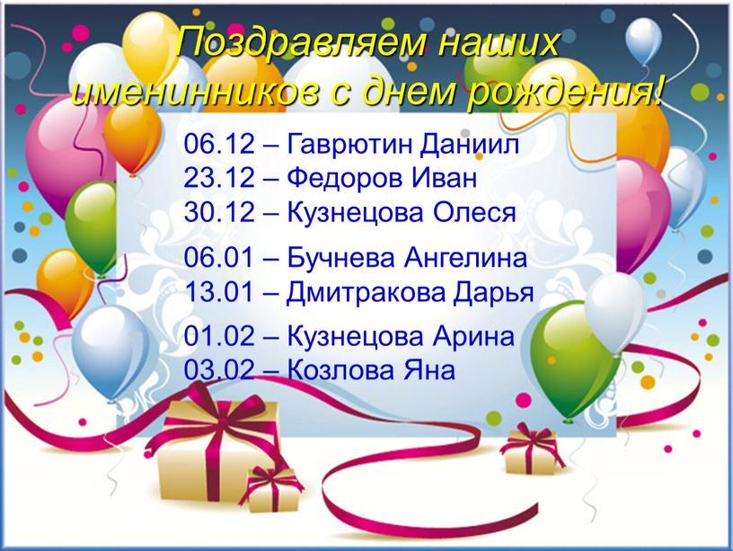 Поздравляем наших именинников с днем рождения! 06
