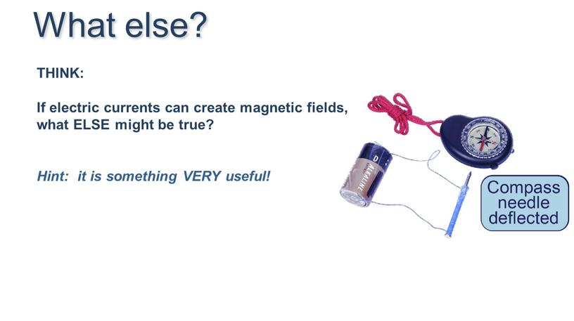 What else? THINK: If electric currents can create magnetic fields, what