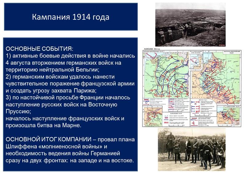 Кампания 1914 года ОСНОВНЫЕ СОБЫТИЯ: 1) активные боевые действия в войне начались 4 августа вторжением германских войск на территорию нейтральной