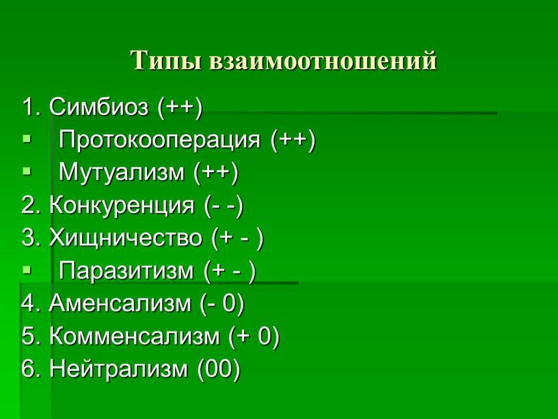 Типы взаимоотношений 1. Симбиоз (++)