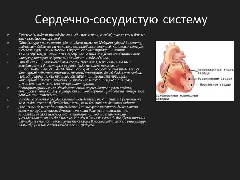 Сердечно-сосудистую систему Курение вызывает преждевременный износ сердца, сосудов, также как и других жизненно важных органов