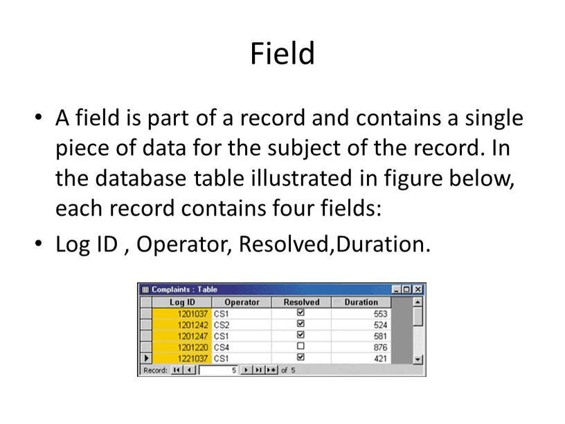 Field A field is part of a record and contains a single piece of data for the subject of the record