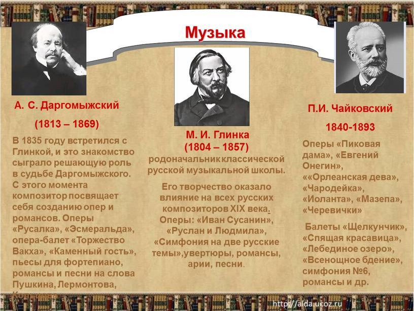 Музыка М. И. Глинка (1804 – 1857) родоначальник классической русской музыкальной школы