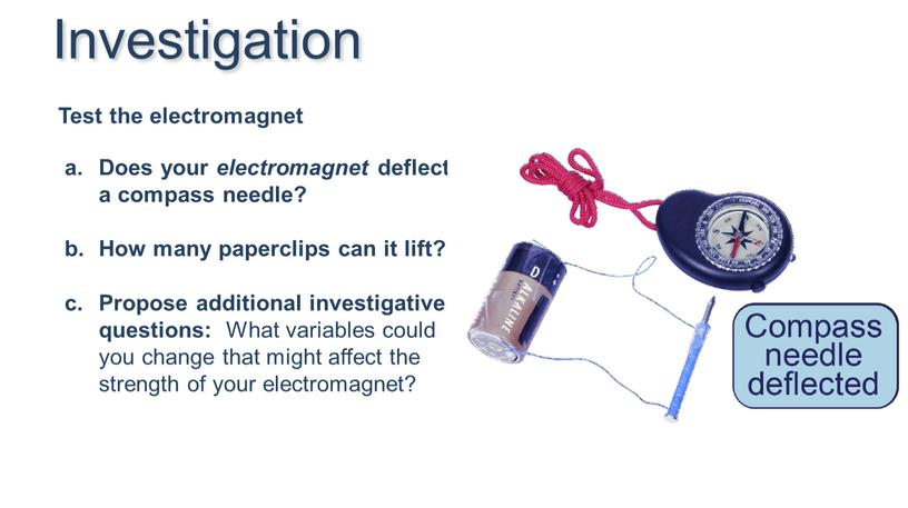 Does your electromagnet deflect a compass needle?