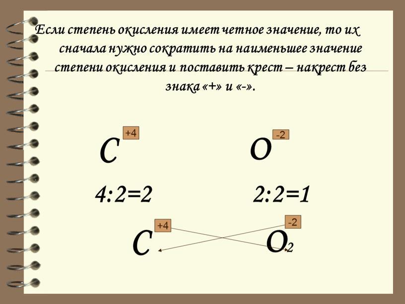 Если степень окисления имеет четное значение, то их сначала нужно сократить на наименьшее значение степени окисления и поставить крест – накрест без знака «+» и…