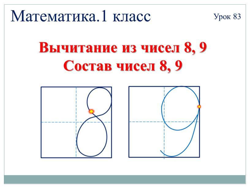 Математика.1 класс Урок 83 Вычитание из чисел 8, 9