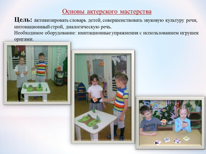 Основы актерского мастерства Цель: активизировать словарь детей, совершенствовать звуковую культуру речи, интонационный строй, диалогическую речь