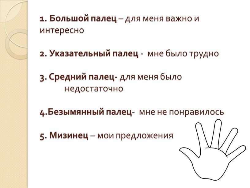 Большой палец – для меня важно и интересно 2