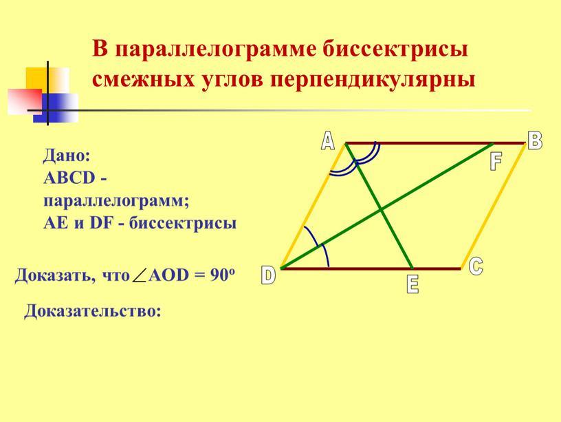 Дано: ABCD - параллелограмм; AE и