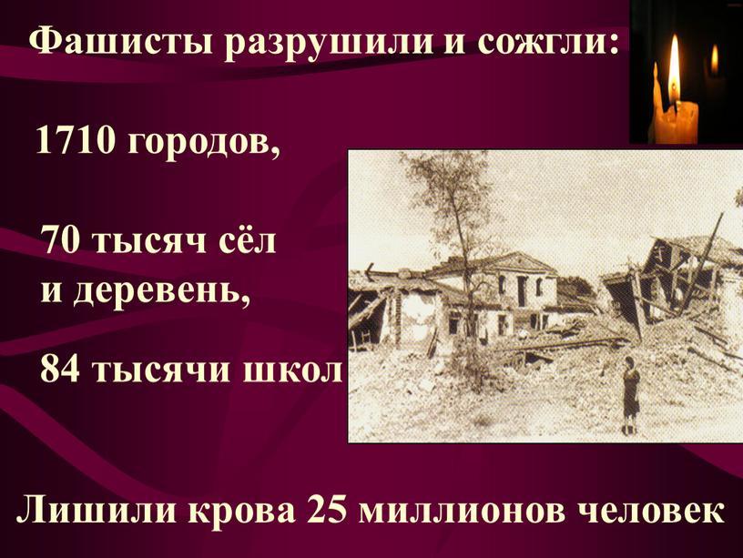 Фашисты разрушили и сожгли: 1710 городов, 70 тысяч сёл и деревень, 84 тысячи школ