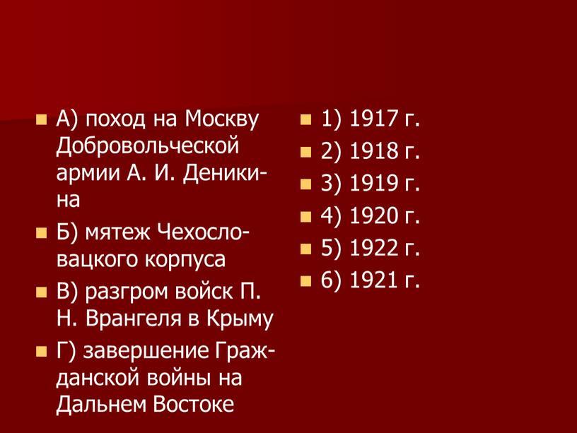 А) поход на Москву Добровольческой армии