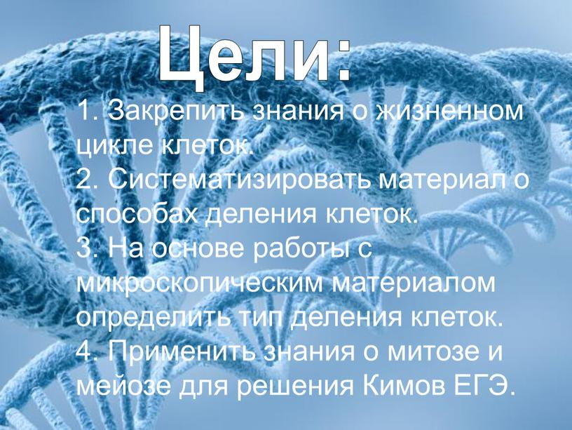 Закрепить знания о жизненном цикле клеток