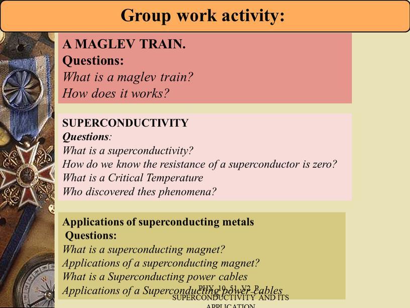 SUPERCONDUCTIVITY Questions :