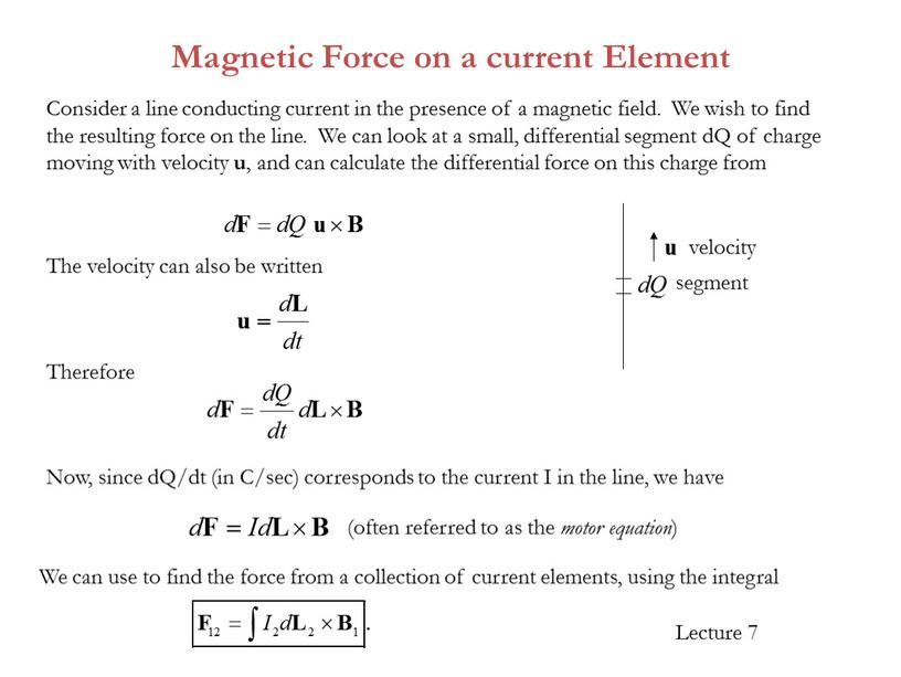 Magnetic Force on a current Element