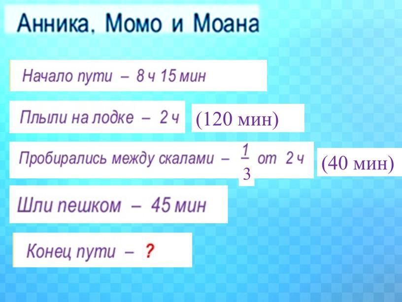 (120 мин) (40 мин) 3