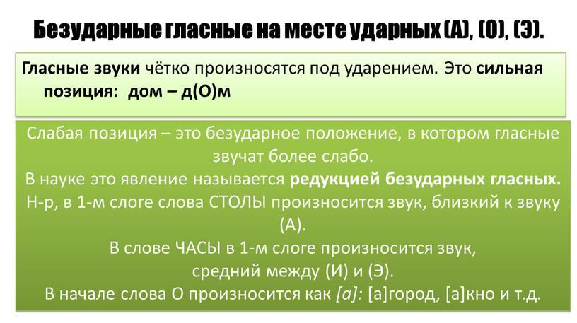 Безударные гласные на месте ударных (А), (О), (Э)