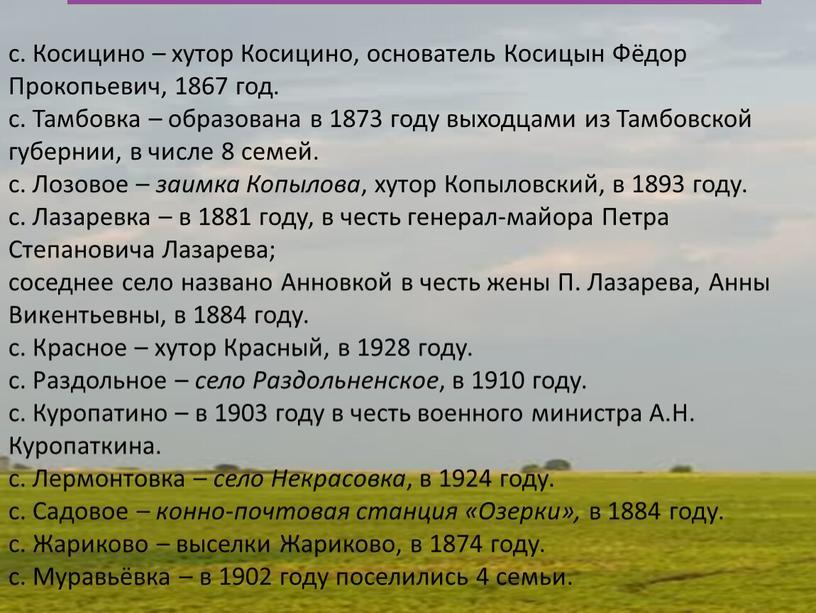 Косицино – хутор Косицино, основатель