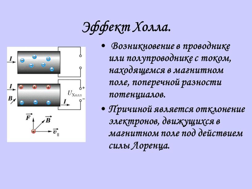 Эффект Холла. Возникновение в проводнике или полупроводнике с током, находящемся в магнитном поле, поперечной разности потенциалов