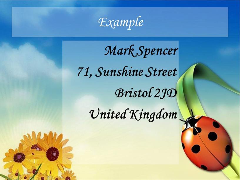 Example Mark Spencer 71, Sunshine