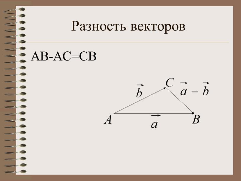 Разность векторов АВ-АС=СВ