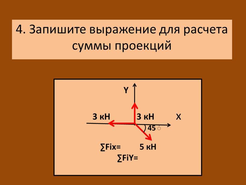 Н 3 кН х 45 ۫ ∑Fiх= 5 кН ∑FiΥ= 4