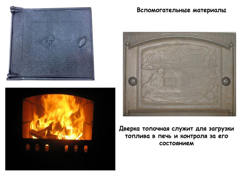 Вспомогательные материалы Дверка топочная служит для загрузки топлива в печь и контроля за его состоянием