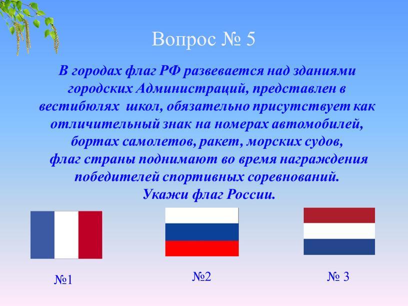 Вопрос № 5 В городах флаг РФ развевается над зданиями городских