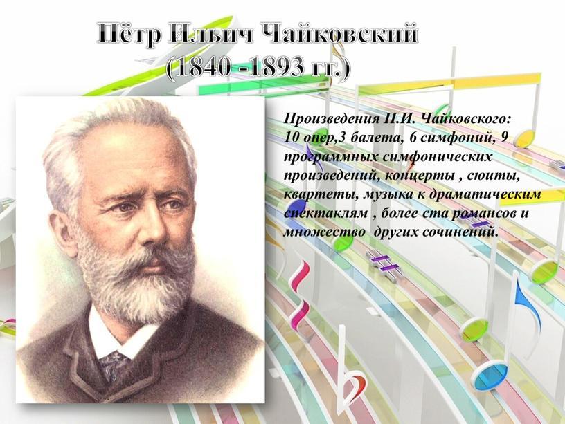 Пётр Ильич Чайковский (1840 -1893 гг