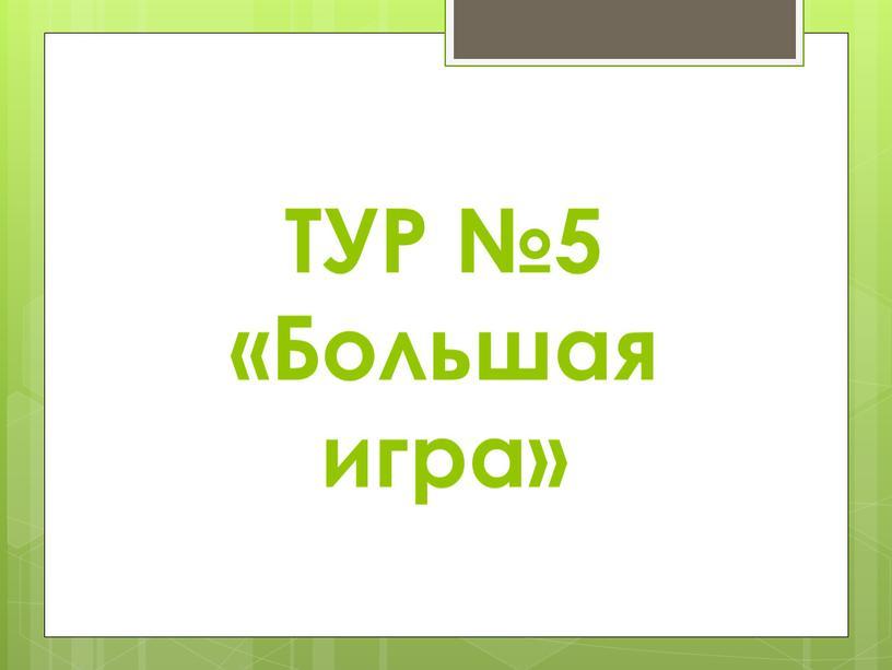 ТУР №5 «Большая игра»