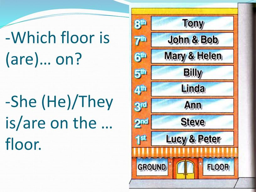 Which floor is (are)… on? -She (He)/They is/are on the … floor