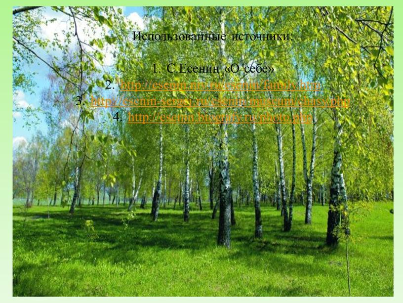 Использованные источники: С.Есенин «О себе» http://esenin