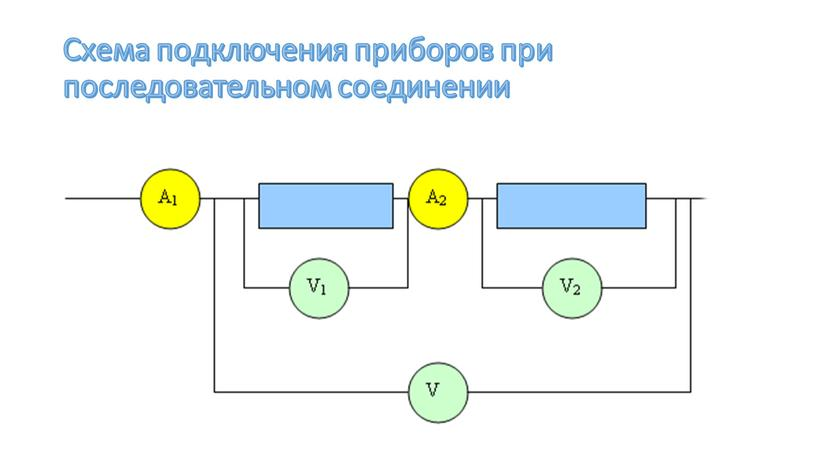 Схема подключения приборов при последовательном соединении